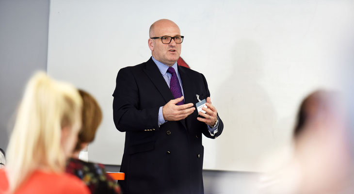 Mike Matthews MBE speaking at the 'Get Ready for the Levy' apprenticeships event at Teesside University.
