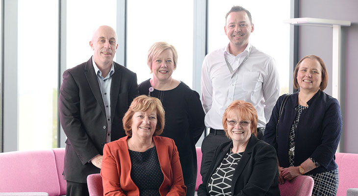 Back row (from left) - Derek Marshall, Chief Workforce Strategist and Planner for Health Education England North East; Gill Hunt, Director of Nursing at South Tees Hospitals NHS Foundation Trust; Scott Godfrey, Nursing Associate Programme Leader; Jan Harris,  Head of Department (Nursing). Front row - Linda Nelson, Associate Dean (Enterprise and Business Engagement), Marion Grieves, Dean of the School of Health & Social Care.