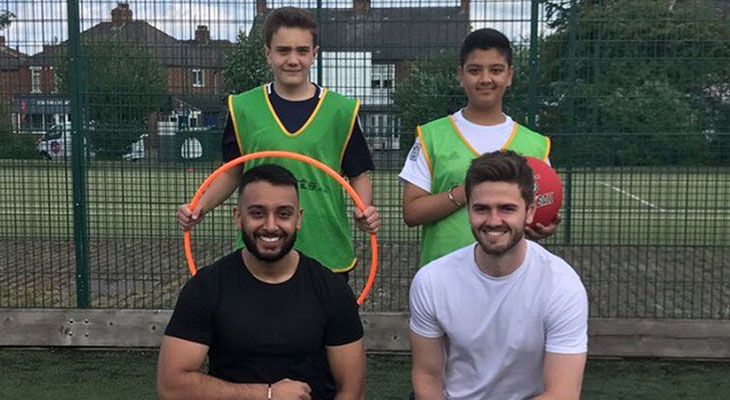 Gurmeet Singh and Matty Jenkinson with Jason Singh and Logan Lowe from Acklam Grange School