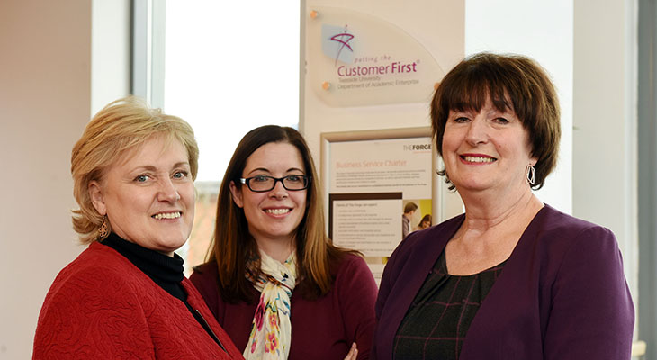 Teesside University has been awarded Putting the Customer First Accreditation for the fifth time. From left - Karen Race, Deputy Director of The Forge; Emma Hoang, Business Information Manager, and Laura Woods, Director of The Forge