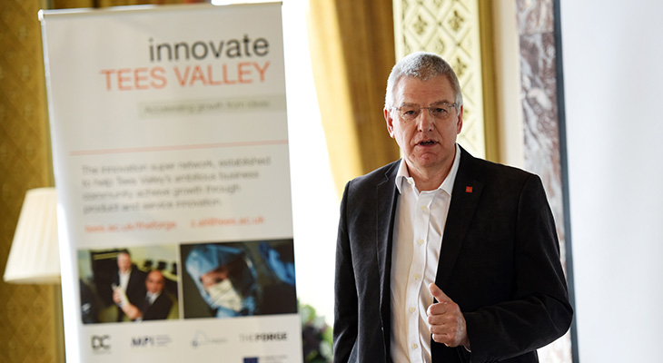 Dai Hayward, CEO of Micropore Technologies speaking at the Innovate Tees Valley celebratory event