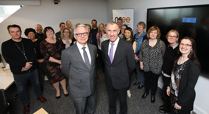 Professor Stuart Corbridge, Vice-Chancellor of Durham University (front-left) with Professor Paul Croney, Vice-Chancellor of Teesside University (front-right) and speakers and guests of the Entrepreneurial Leaders programme.