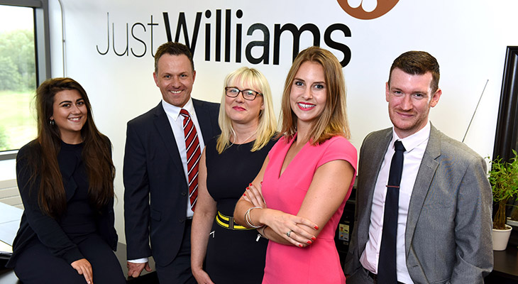 (L-R)  Jasmine Ashley (Trainee Sales Specialist, Just Williams), Matthew Telling (Operations Manager, RMS), Erica Legg (Senior Sales Specialist, Just Williams), Jessica Williams (Founder, Just Williams) and Tom Richardson (Recruitment Consultant, RMS).