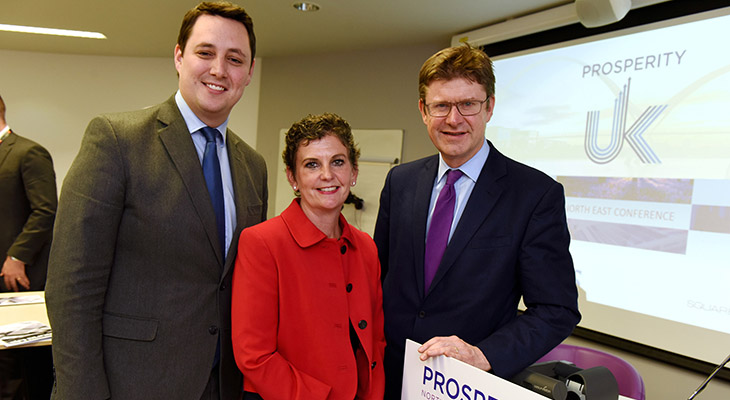 (l-r) Tees Valley Mayor Ben Houchen, Pro Vice-Chancellor (Enterprise and Business Engagement) Professor Jane Turner OBE DL and Business Secretary Greg Clark at the Prosperity UK conference held at Teesside University's campus last month.