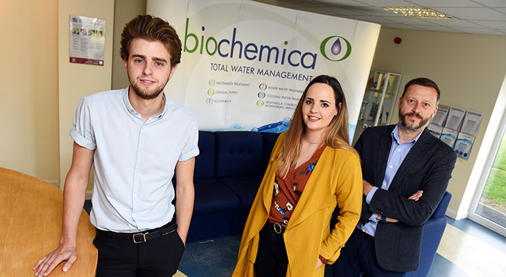 (R-L) John Fraser (Managing Director, Biochemica), Katherine Rowell (Account Director, Scarab 4) and Kane Elgey (Marketing Assistant, Biochemica).