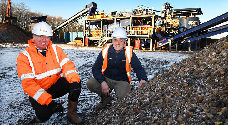 Adrian Parnaby (left) and Peter Scott are pictured with the newly commissioned £1m wash plant.