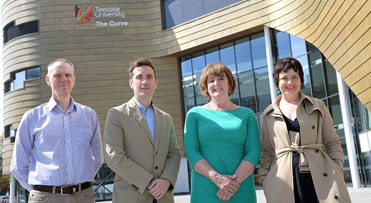 From left) Pete Hall (Head of Platform Development, Clicksco), Pete Danks (Divisional Chief Executive, Clicksco), Laura Woods (Director of Academic Enterprise, Teesside University) and Siobhan Fenton (Associate Dean, Teesside University School of Computing & Digital Technologies)