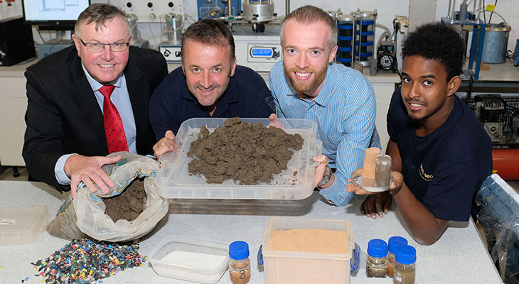 Bob Borthwick and Peter Scott of Scott Bros with Dr Paul Sargent and research graduate Feysal Shifa