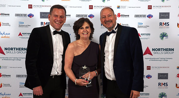 Professor Jane Turner, OBE DL, receiving her award from Dave Allan and Martin Walker, Co-Editors of Tees Business.