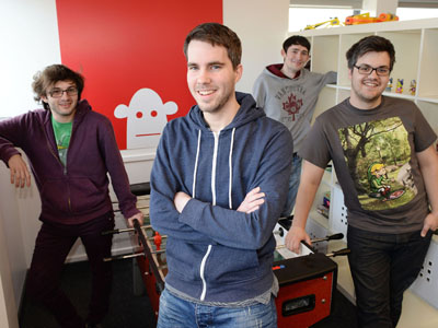 Pictured: Darren Cuthbert (front left) and Bob Makin (front right) with Jacob Keane (back left) and Dave McCann (back right). Link to Success story for DigitalCity fellows.