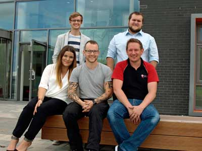 GTrak team Alistair Blunsdon, Marketing Manager, Tom Smith, Technical Director, Frances Chambers, Customer Support Manager, James Anderson, Operations Manager and Ashley Meson, Chief Executive.