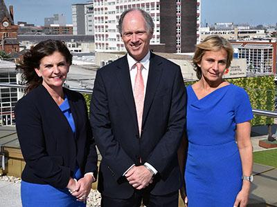 From left - Professor Jane Turner, Scott Wightman and Emma Wegoda at Teesside University.