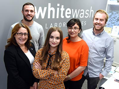 From left - Matthew Lloyd, Director of Whitewash; Joanne Rout, NEPIC; Megan Lillie, Knowledge Exchange Intern; Azar Shahgholian – Senior Lecturer in Digital Marketing; Tom Riley, Director of Whitewash