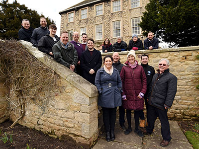 Members of the Leading Growth cohort on a residential experience at Headlam Hall Hotel.