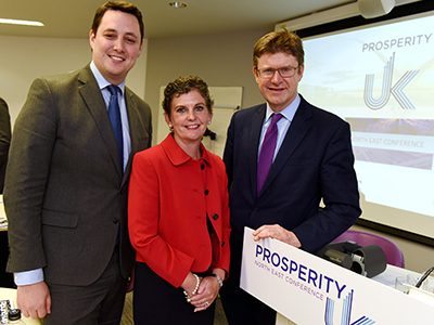 Tees Valley Mayor Ben Houchen, Teesside University Pro Vice-Chancellor (Enterprise and Business Engagement) Professor Jane OBE DL and Secretary of State for Business, Energy and Industrial Strategy, Rt Hon Greg Clark MP.