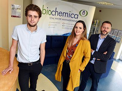 (R-L) John Fraser (Managing Director, Biochemica), Katherine Rowell (Account Director, Scarab 4) and Kane Elgey (Marketing Assistant, Biochemica).