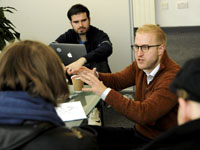 Jordan Schlipf leads a workshop as part of Global Entrepreneurship Week at Teesside University.