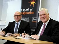 Vice-Chancellor Professor Graham Henderson CBE DL (right) signing the Memorandum of Understanding with Nifco UK's Managing Director and European Operations Officer Mike Matthews (left).