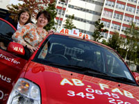 Teesside Business School's Margaret Murray and Debbie Strickley from AB FAB Driving School