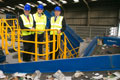 Dr Vince Cable MP, Gareth Godwin, Manager Ward Recycling and Ian Swales MP at Ward Recycling. Link to Secretary of State opens Middlesbrough firm's clean-up extension.