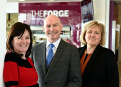 From left – Lisa McKeown, The Forge Customer Services Manager; Michael Wildey, Customer First Practitioner and Karen Race, Deputy Director of The Forge.