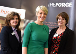 From left - Pro Vice-Chancellor (Enterprise and Business Engagement) Professor Jane Turner, Steph McGovern and Director of The Forge, Laura Woods.