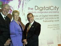 Professor Graham Henderson, Vice-Chancellor of the University of Teesside, Janice Webster, DigitalCity Project Director, Alan Clarke, Chief Executive of One NorthEast